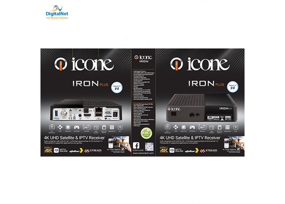 ICONE  IRON PLUS  4K UHD  SATELLITE & IP TV RECEIVER
