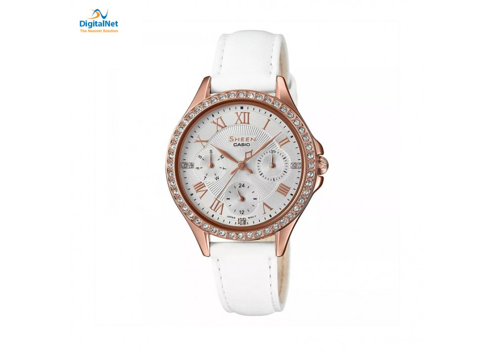 CASIO HAND WATCH LEATHER BAND SHE-3062PGL-7AU-SHEEN WHITE