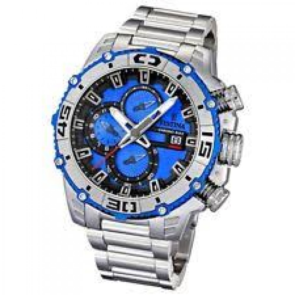 FESTINA WATCH MENS CLASSIC STAINLESS STEEL SILVER & BLUE