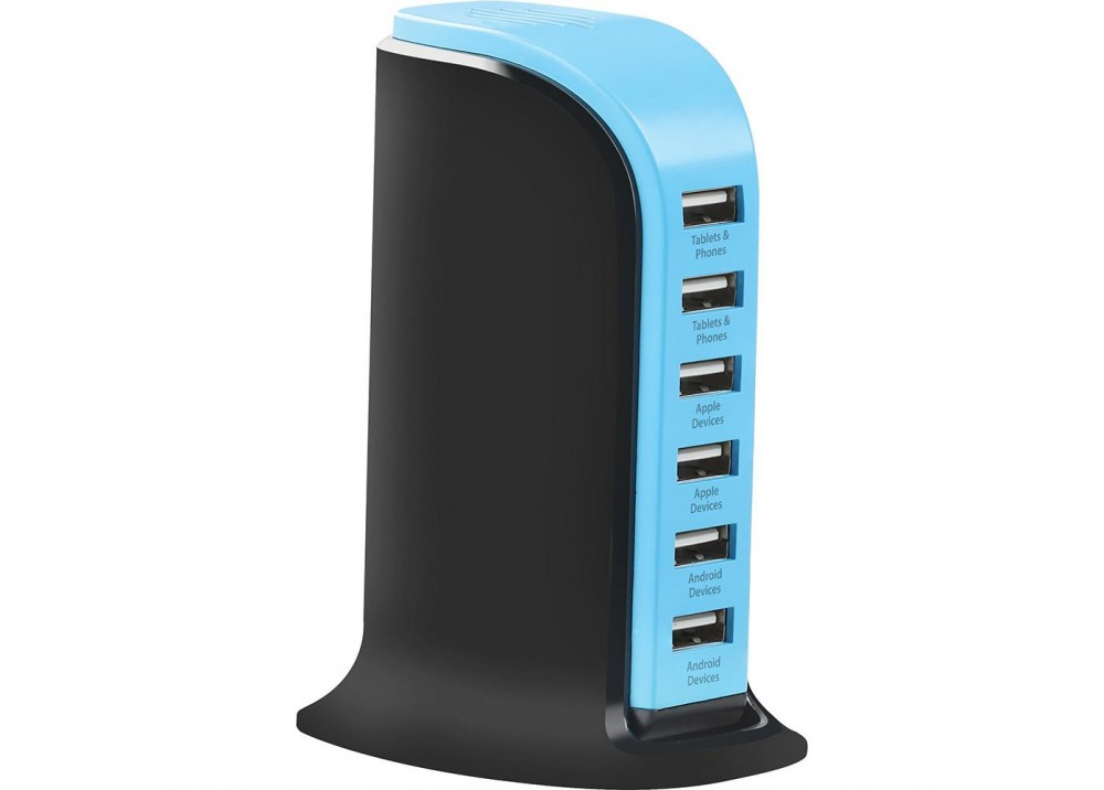 PROMATE POWERBASE 8000MA ULTRA-FAST AC CHARGING STATION WITH 6 USB PORTS FOR HOME & OFFICE