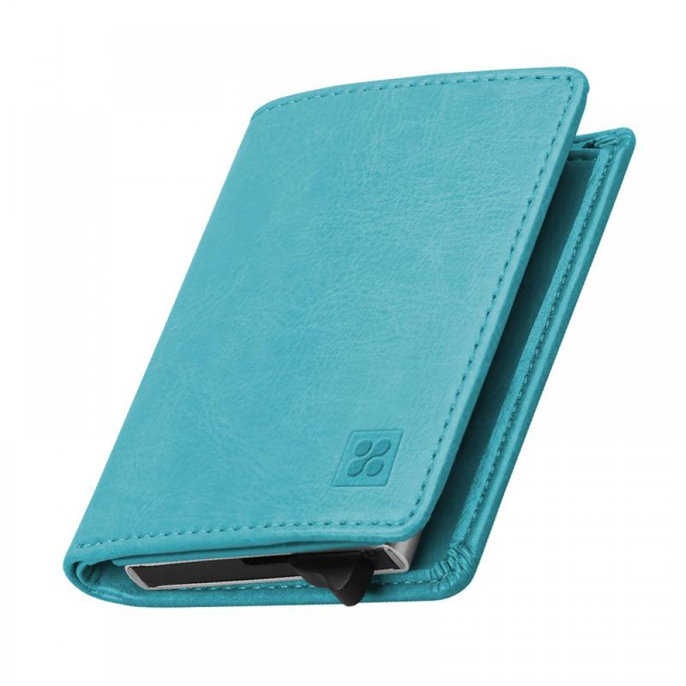 PROMATE RFID SAFE LEATHER SLIM WALLET & ALUMINUM CARD CASE BLUE