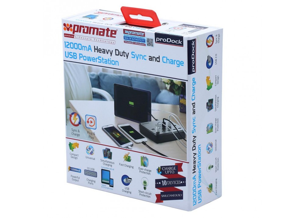 PROMATE 12000MA HEAVY DUTY SYNC AND CHARGE USB POWERSTATION