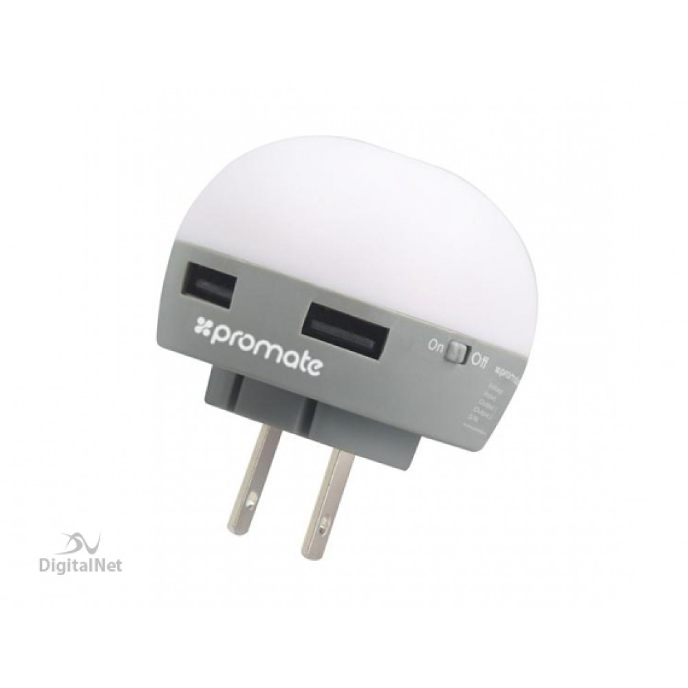 PROMATE GLINT DUAL PORT USB WALL CHARGER WITH ENERGY EFFICIENT NIGHT LIGHT