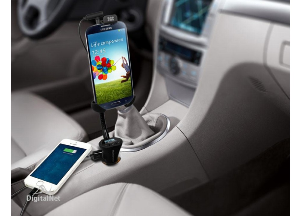 PROMATE FM13 UNIVERSAL SMARTPHONE HOLDER WITH BUILT HANDS FREE CAR FM TRANSMITTER AND CHARGING PORT