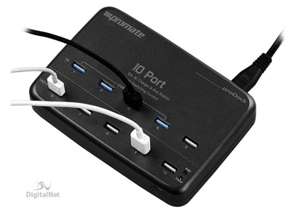 PROMATE PRODOCK 12000MA HEAVY DUTY SYNC AND CHARGE USB POWER STATION