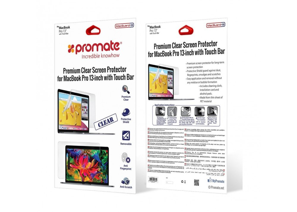 PROMATE PREMIUM CLEAR SCREEN PROTECTOR FOR MACGUARD-PRO 13 MACBOOK PRO WITH TOUCH BAR