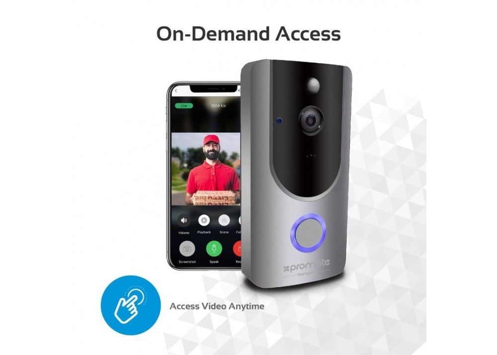 PROMATE CAMERA WI-FI HD VIDEO DOORBELL + SMART MOTION SECURITY SYSTEM RANGER-1 GRAY