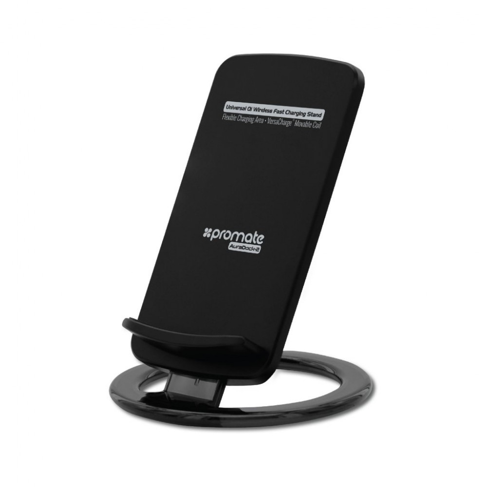 PROMATE AURADOCK-2 UNIVERSAL QI WIRELESS CHARGING STAND BLACK