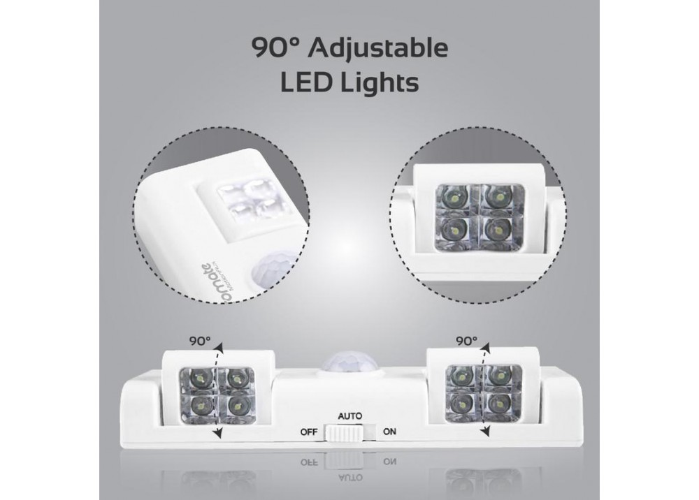 PROMATE INDOOR MOTION-ACTIVATED LED LIGHTS WITH RECHARGEABLE BATTERY 800MAH WHITE