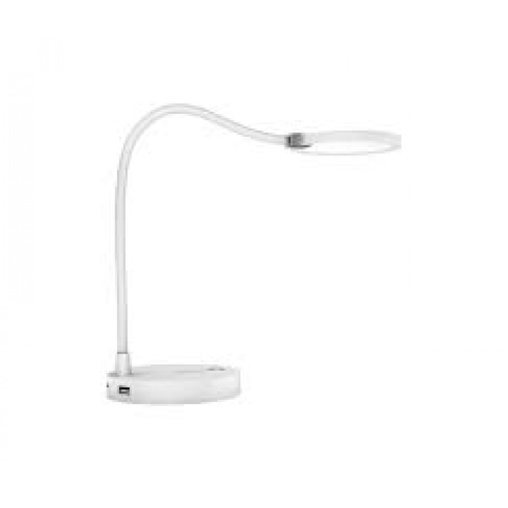 PROMATE LED DESK LAMP WITH BUILT-IN 4000MAH POWER BANK & MOBILE CHARGING HUB WHITE