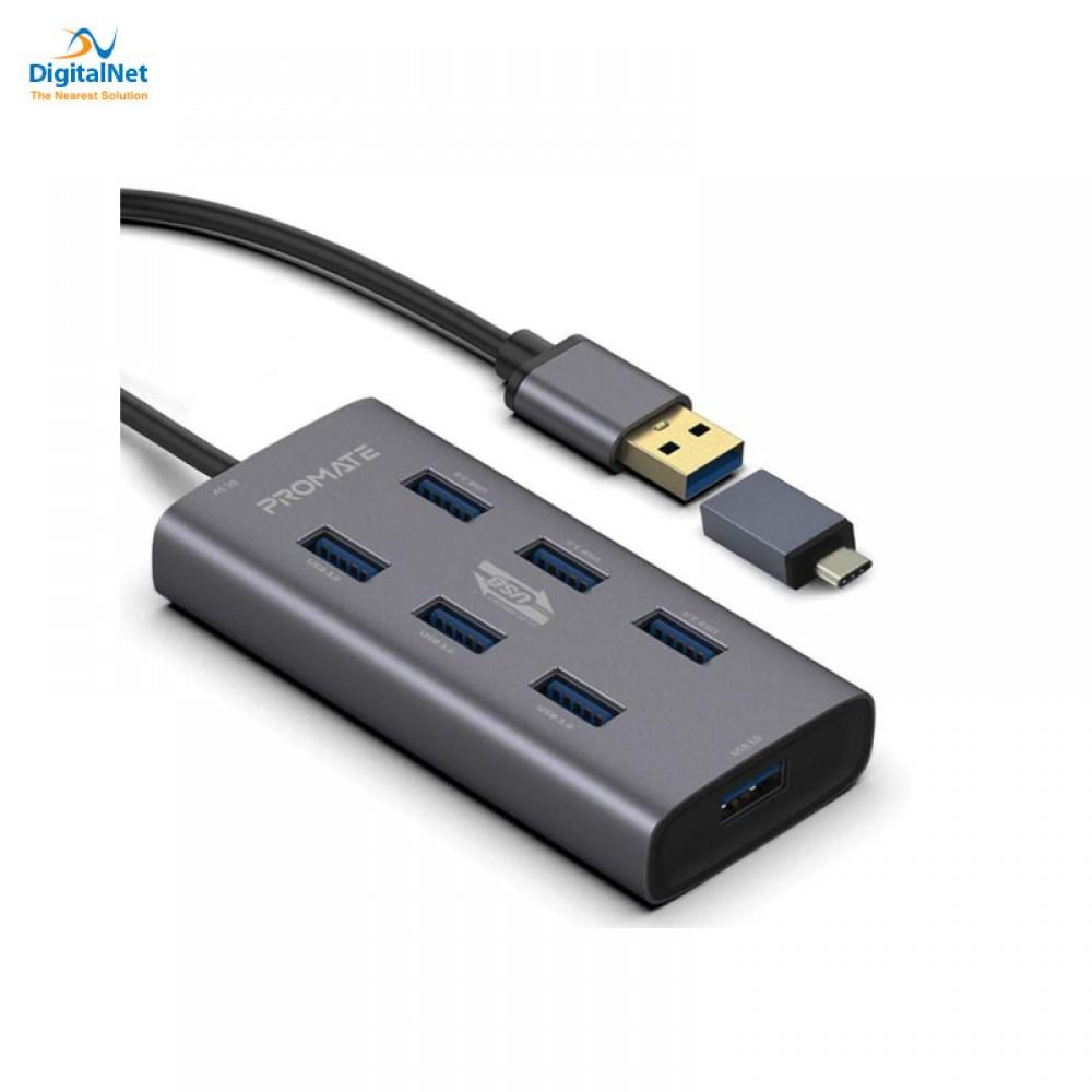 PROMATE USB HUB EZHUB-7  7 PORTS USB-C & USB-A GRAY