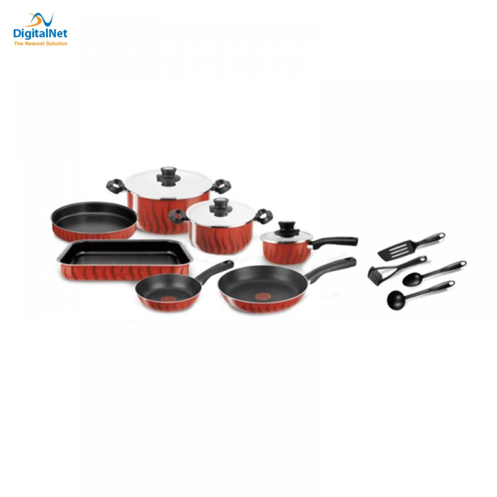 TEFAL COOKWARE TEMPO FLAME 14PCS RED