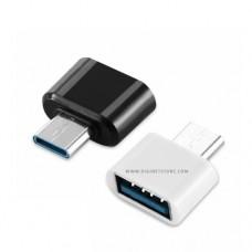 بدون ماركة تجارية محول من OTG TYPE-C TO USB أبيض وأسود
