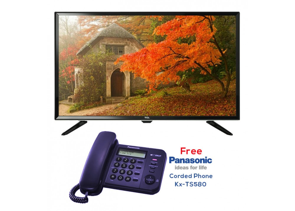 """TCL LED TV 32"""" D2700 WITH FREE GIFT  PANASONIC CORDED PHONE KX-TS580 DARK BLUE"""