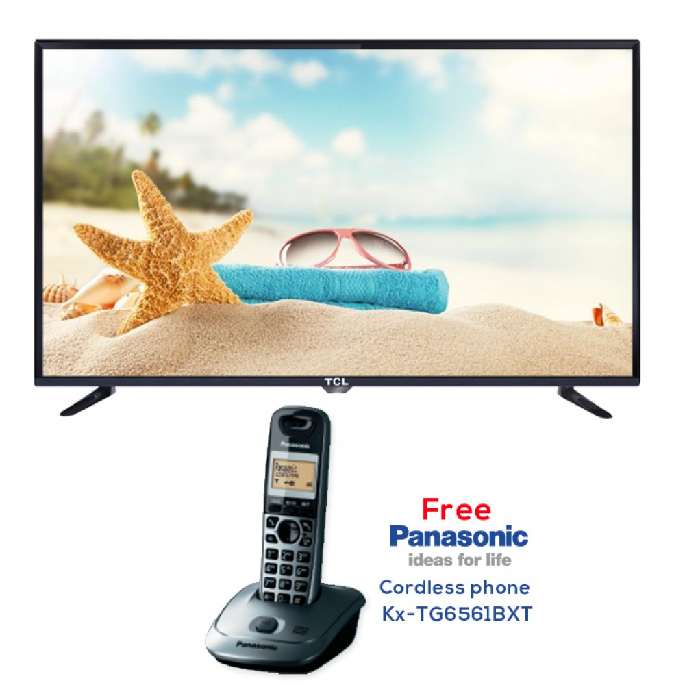 "TCL LED TV 40"" D2700 WITH FREE GIFT PANASONIC CORDLESS PHONE KX-TG6561BXT BLACK CHINA"