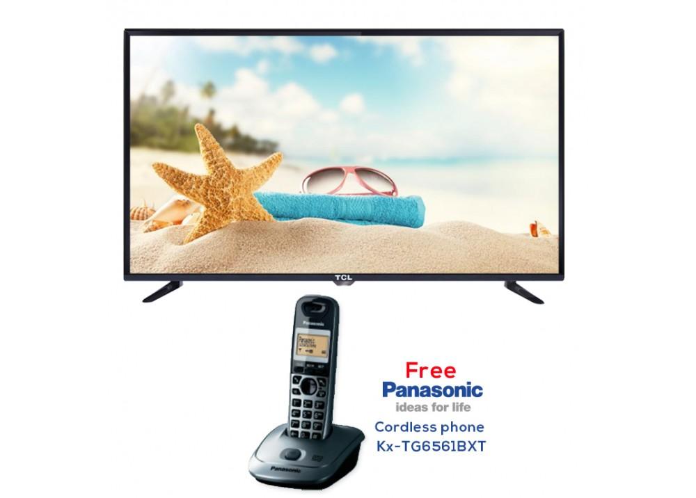 "TCL LED TV 40"" D2700 WITH FREE GIFT PANASONIC CORDLESS PHONE Kx-TG6561BXT BLACK"