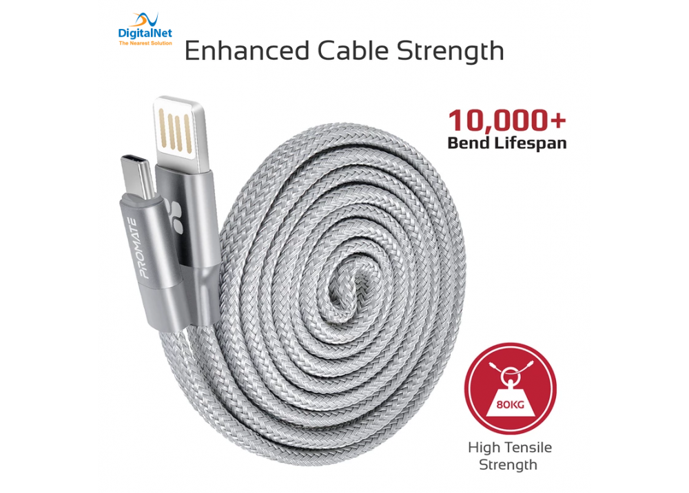 PROMATE USB TYPE-C OTG CABLE COILINE-C 120cm GRAY