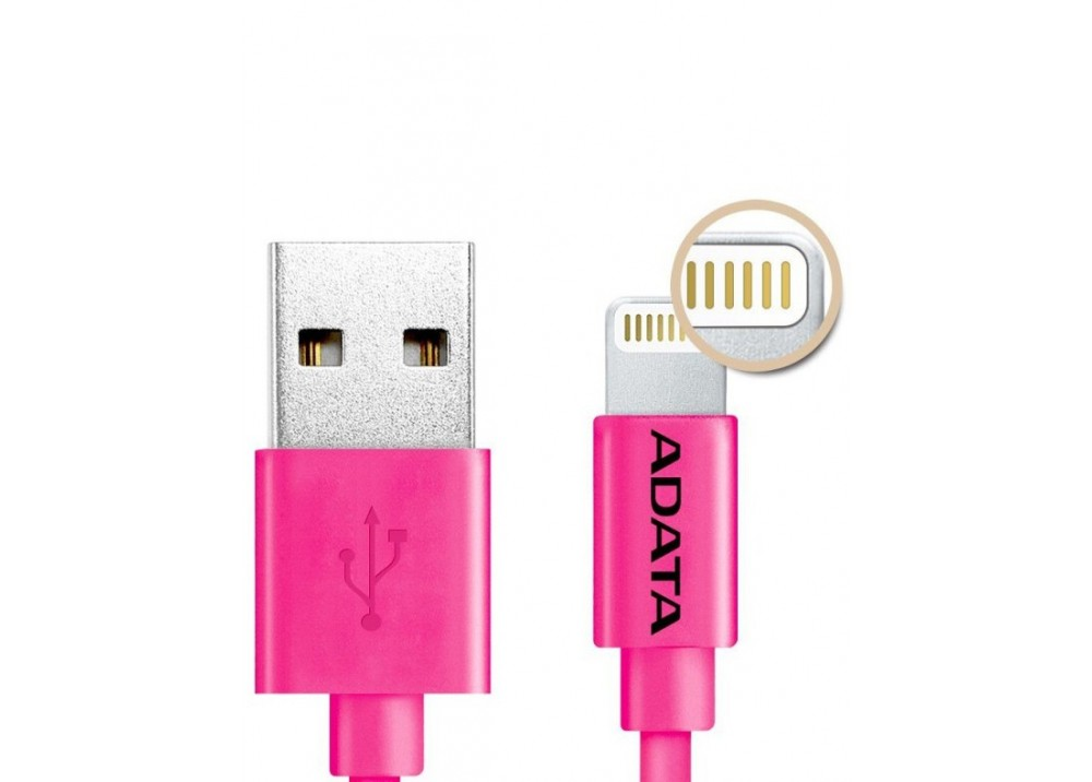 A-DATA APPLE PLASTIC LIGTTNING AND USB 100CM PINK