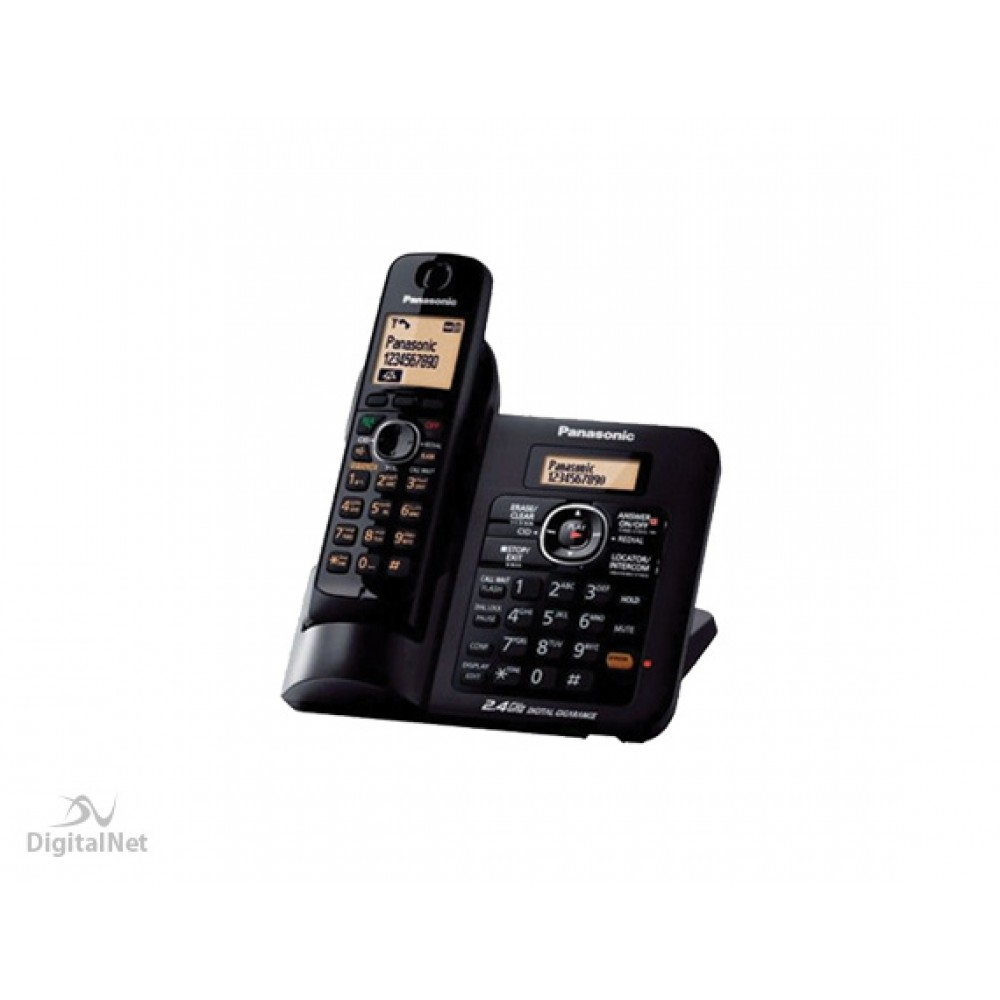 PANASONIC CORDLESS PHONE  KX-TG3821 BX WITH ANSWERING SYSTEM 2.4GHZ BLACK