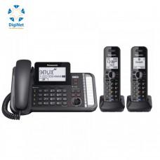 باناسونيك هاتف خطين 3 سماعات لاسلكي KX-TG 9582  أسود