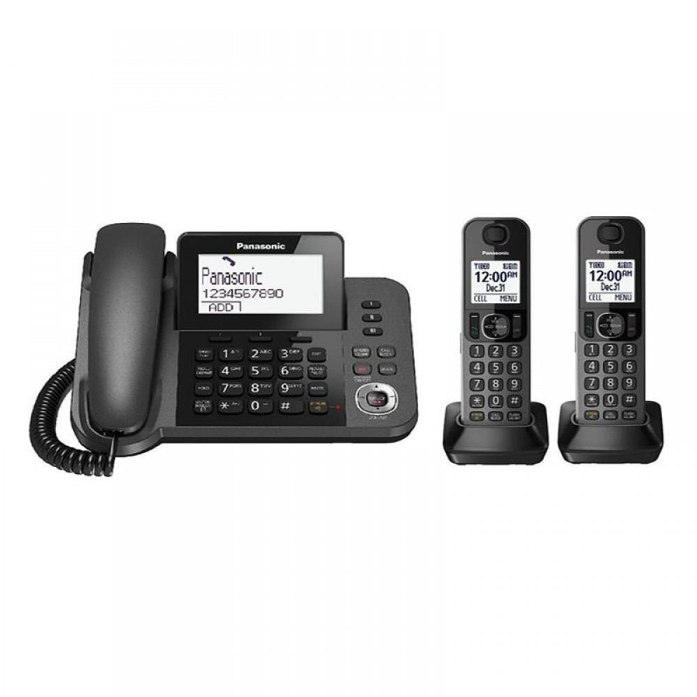 PANASONIC CORDLESS PHONE KX-TGF322 3 HANDSETS BLACK
