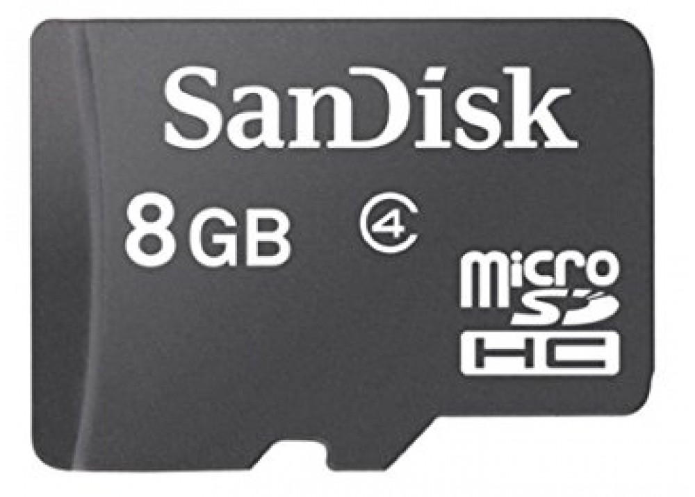 SANDISK MICRO SDHC 8GB CLASS 4 WITH ADAPTER