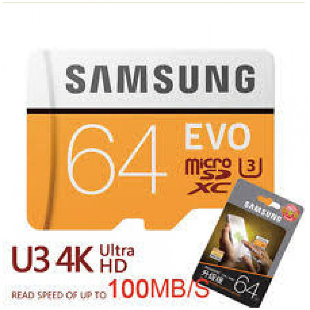 SAMSUNG EVO MICRO SD CARD SDHC 64GB CLASS 10 100MB 4k WITH ADAPTER