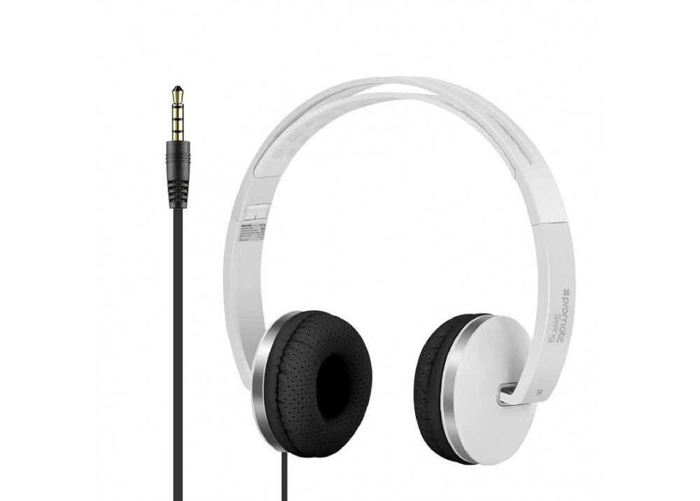PROMATE STEREO WIRED HEADPHONE SWING WHITE