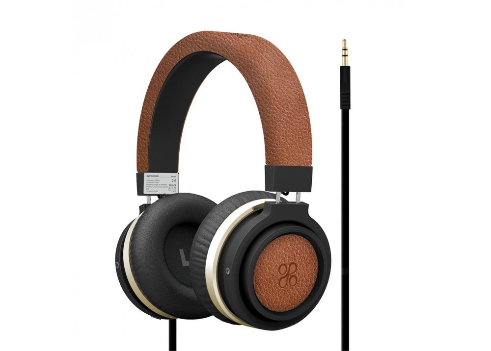 PROMATE STEREO WIRED HEADPHONE BOOM BROWN