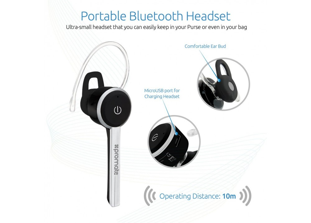 PROMATE ACE  WIRELESS HEADSET FOR HANDS FREE CALL BLACK
