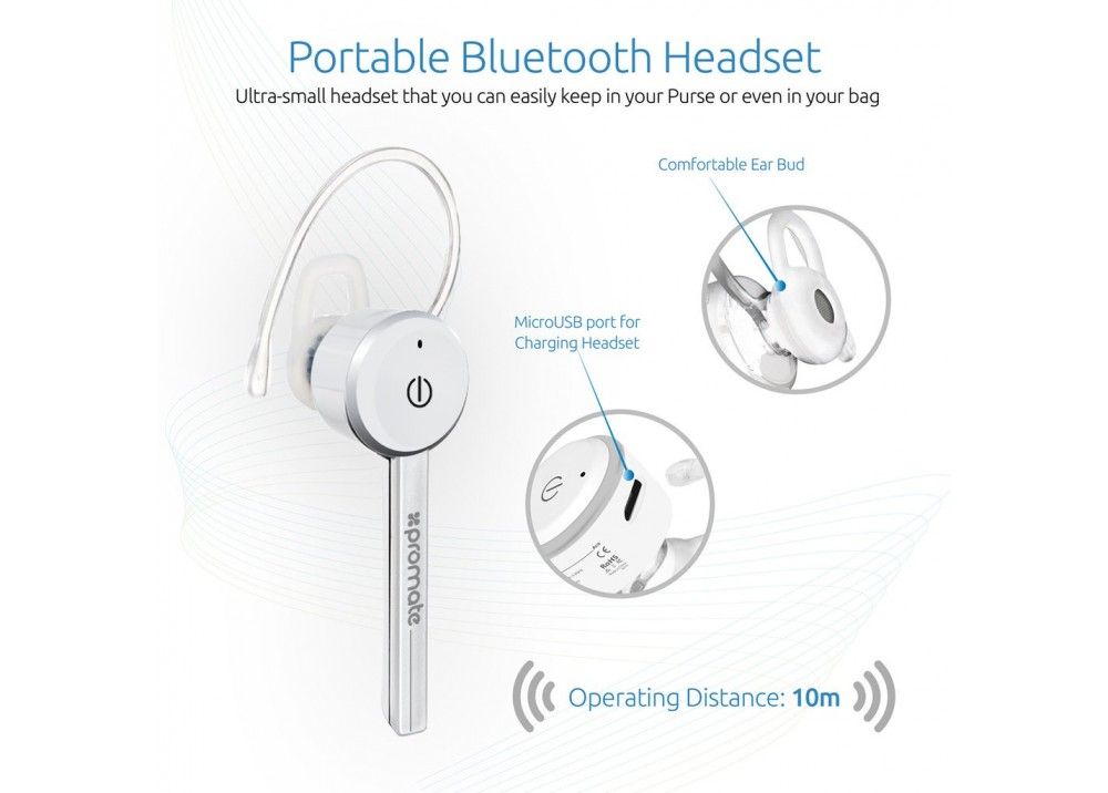 PROMATE ACE  WIRELESS HEADSET FOR HANDS FREE CALL WHITE