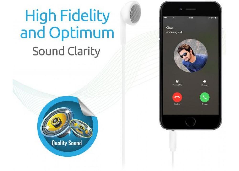 PROMATE EARMATE‐IM. MONO HANDS FREE HEADPHONE WHITE