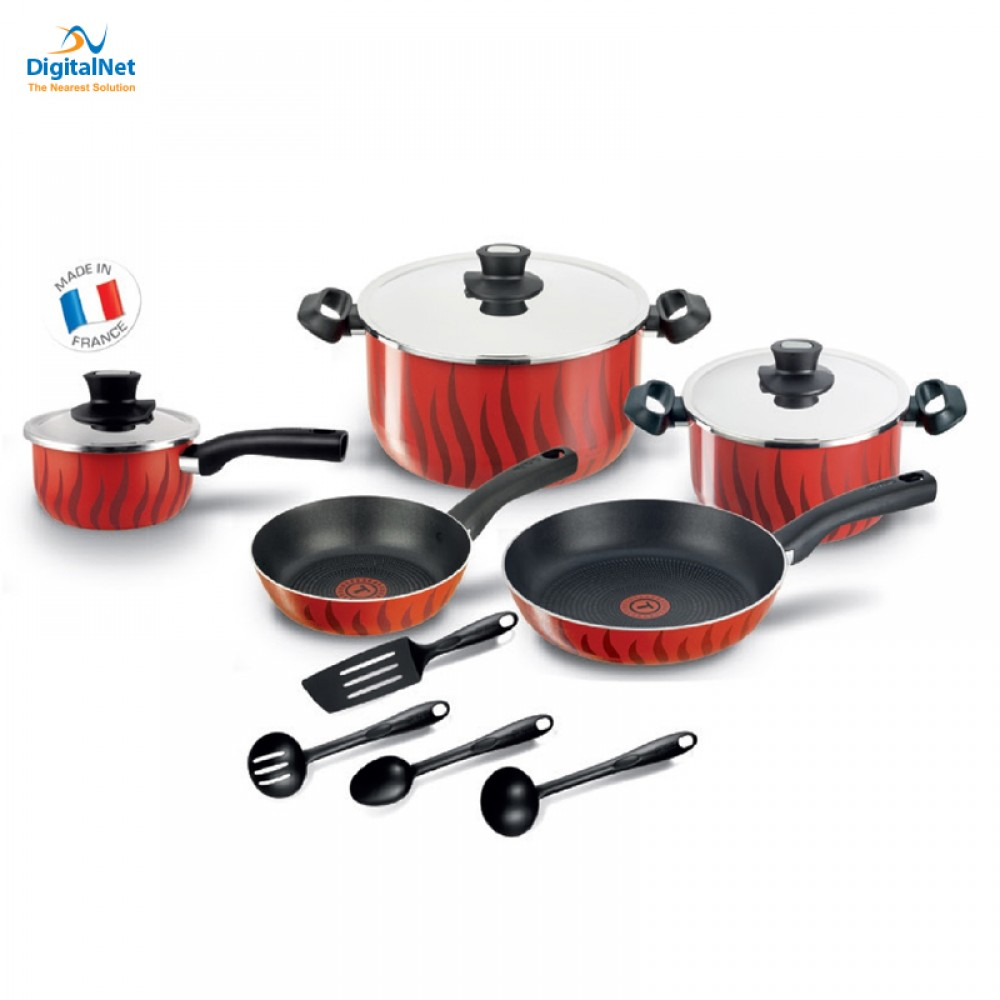 TEFAL COOKWARE TEMPO FLAME 12PCS RED