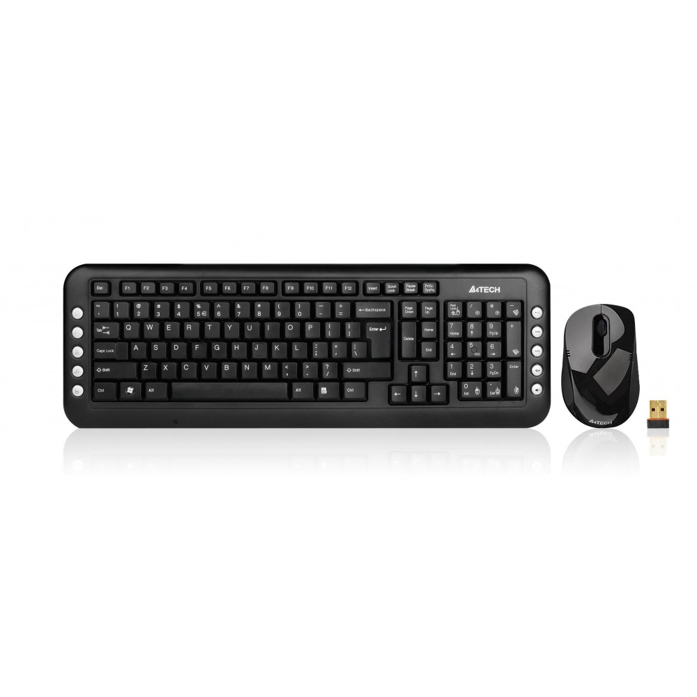 A4 TECH WIRELESS KEYBOARD WITH MOUSE 7200N COMBO USB BLACK
