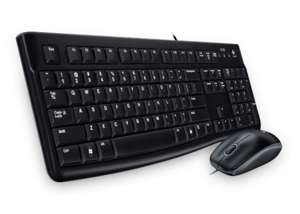 LOGITECH WIRED KEYBOARD WITH MOUSE MK120 COMBO USB BLACK