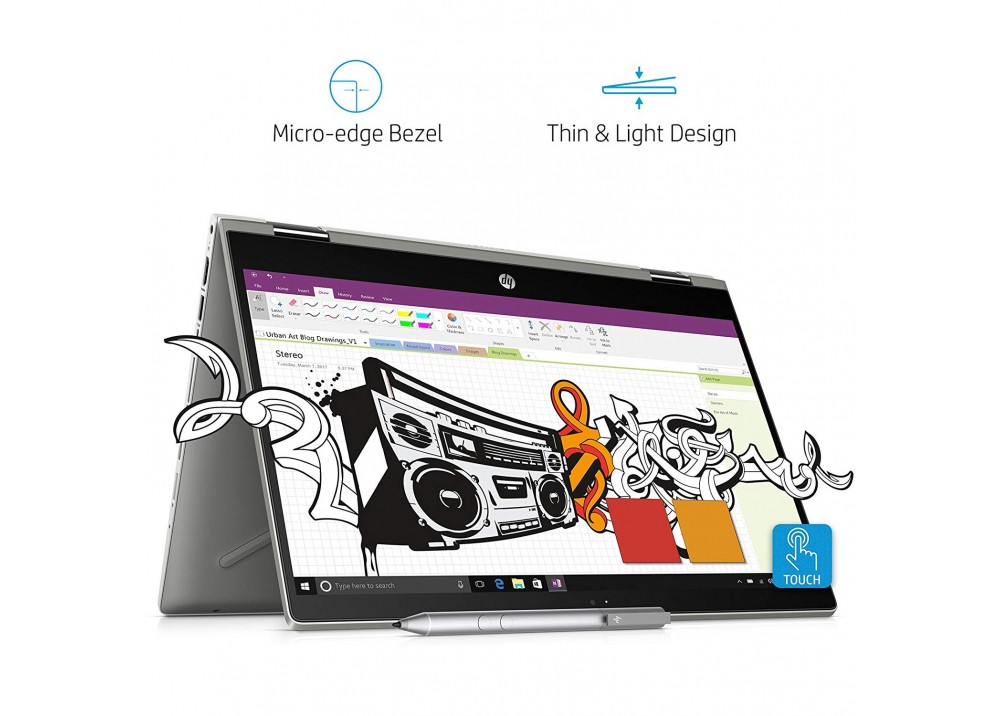 """HP LAPTOP PAVILION I7-8565U 12GB 1TB 14"""" HD TOUCH WIN 10 SILVER WITH PEN"""