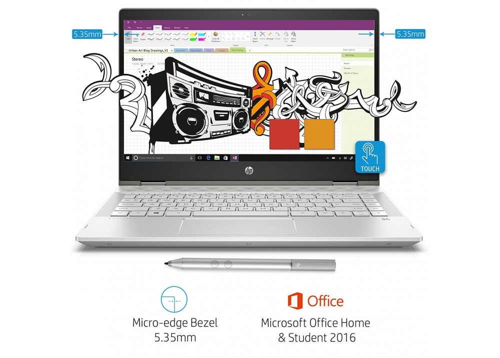"""HP LAPTOP PAVILION I7-8565U 12GB 1TB 4D VGA 14"""" HD TOUCH WIN 10 SILVER WITH PEN"""
