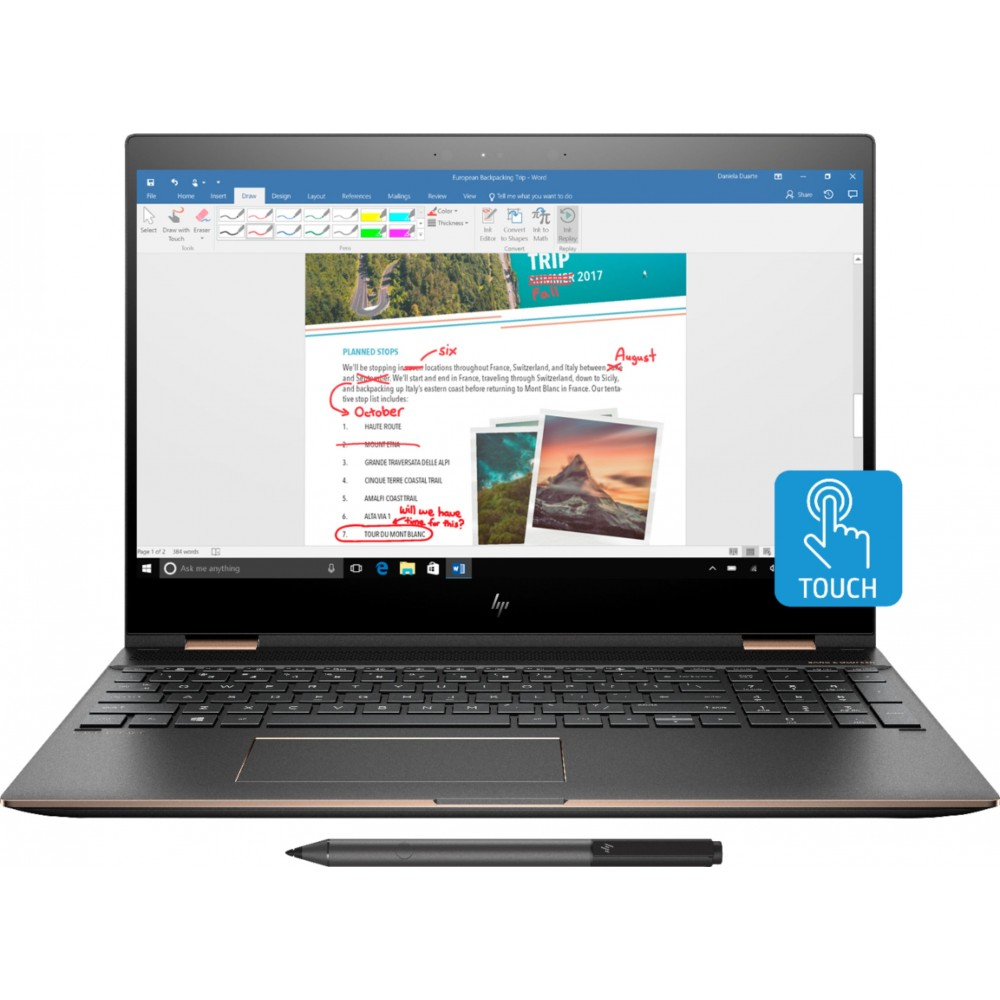 "HP LAPTOP SPECTRE X360 I7-8550U 16GB 512GB SSD 2GB VGA 15.6"" 4K TOUCH WIN 10 GRAY WITH BAG & PEN"