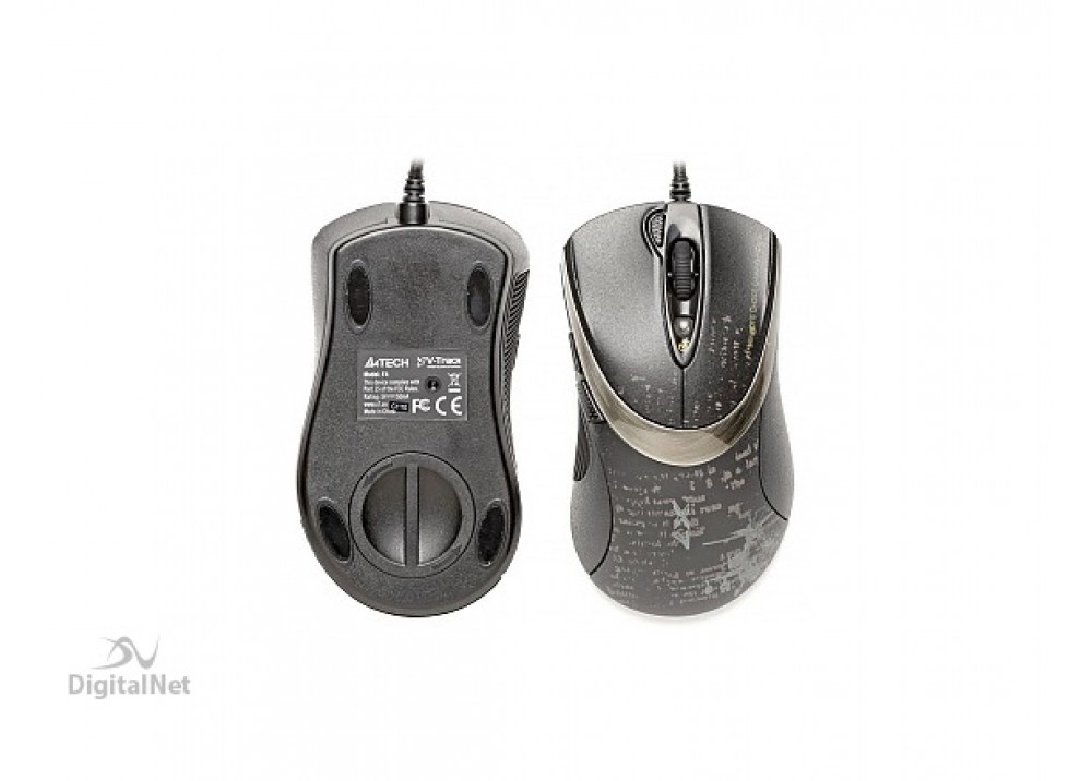 A4 TECH GAMING WIRED MOUSE F4 V-TRACK BLACK GRAY