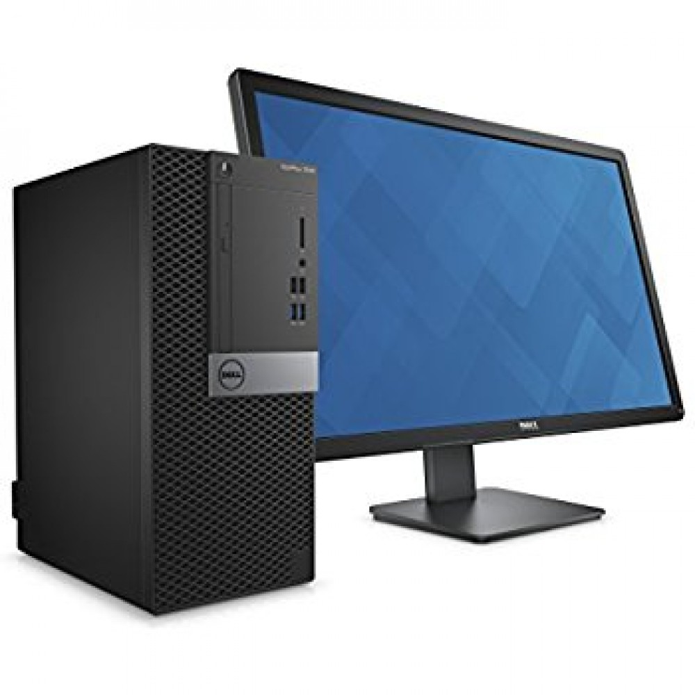 "DELL DESKTOP OPTIPLEX 3050 I5-7500 4GB 500GB DOS WITH  LED MONITOR E2016HV 19.5"" BLACK"