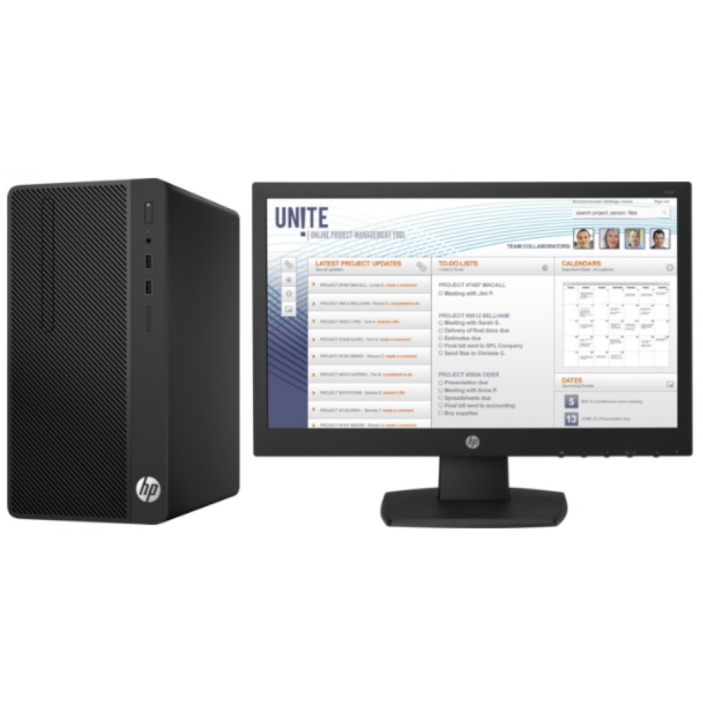 HP DESKTOP COMPUTER TOWER 290 G1 CORE I3 7100 4GB 500GB WITH  AND HP MON18.5""