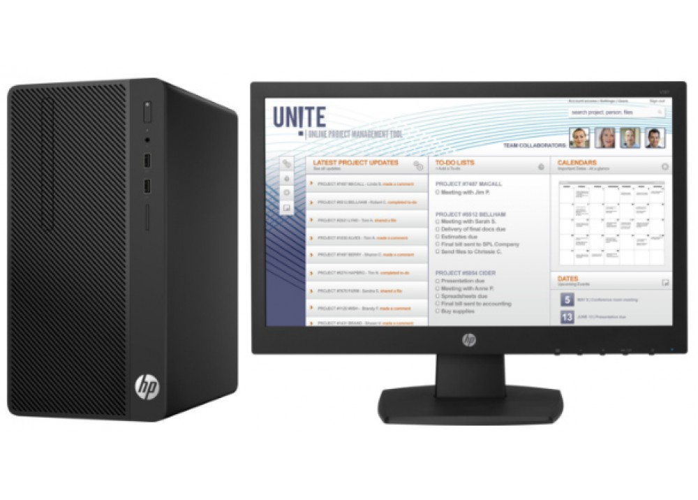 HP DESKTOP COMPUTER TOWER 290 G1 CORE I5 7500 4GB 500GB WITH AND HP MON18.5""