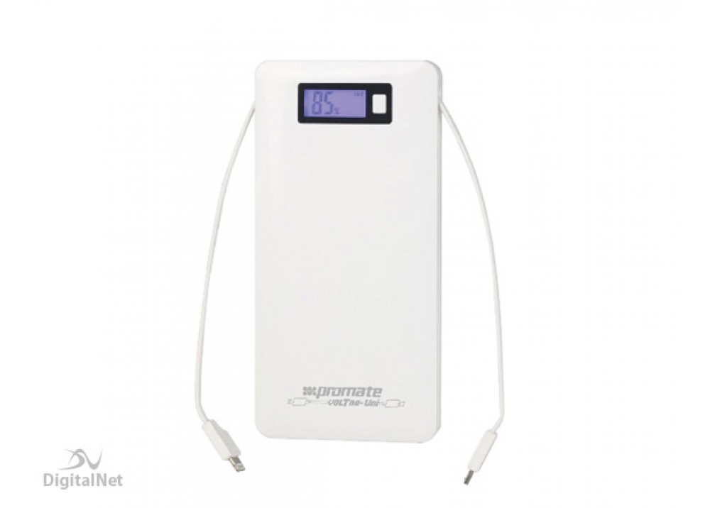 PROMATE POWER BANK PORTABLE CHARGER VOLTAG-UNI 10000 MAH WHITE