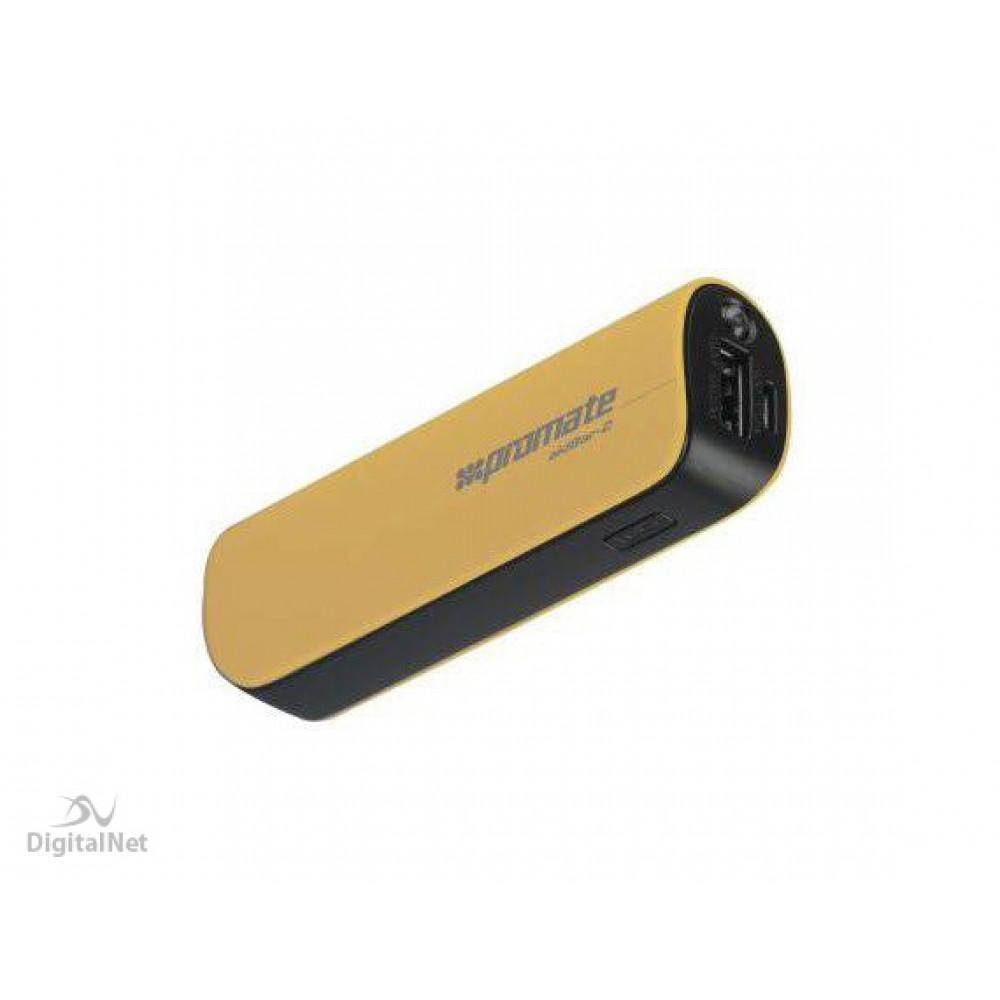 PROMATE POWER BANK PORTABLE CHARGER AIDBAR-2 2500MAH GOLD