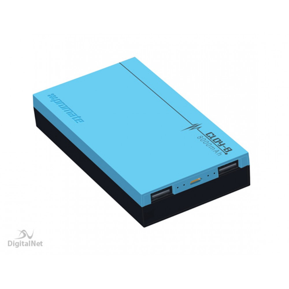 PROMATE POWER BANK CLOY-8 8000MAH BLUE