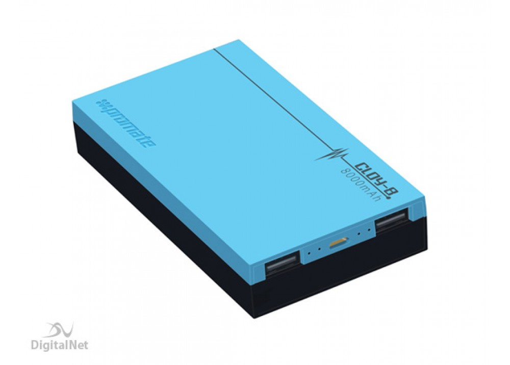 PROMATE POWER BANK PORTABLE CHARGER POLYMER 8000 MAH BLUE
