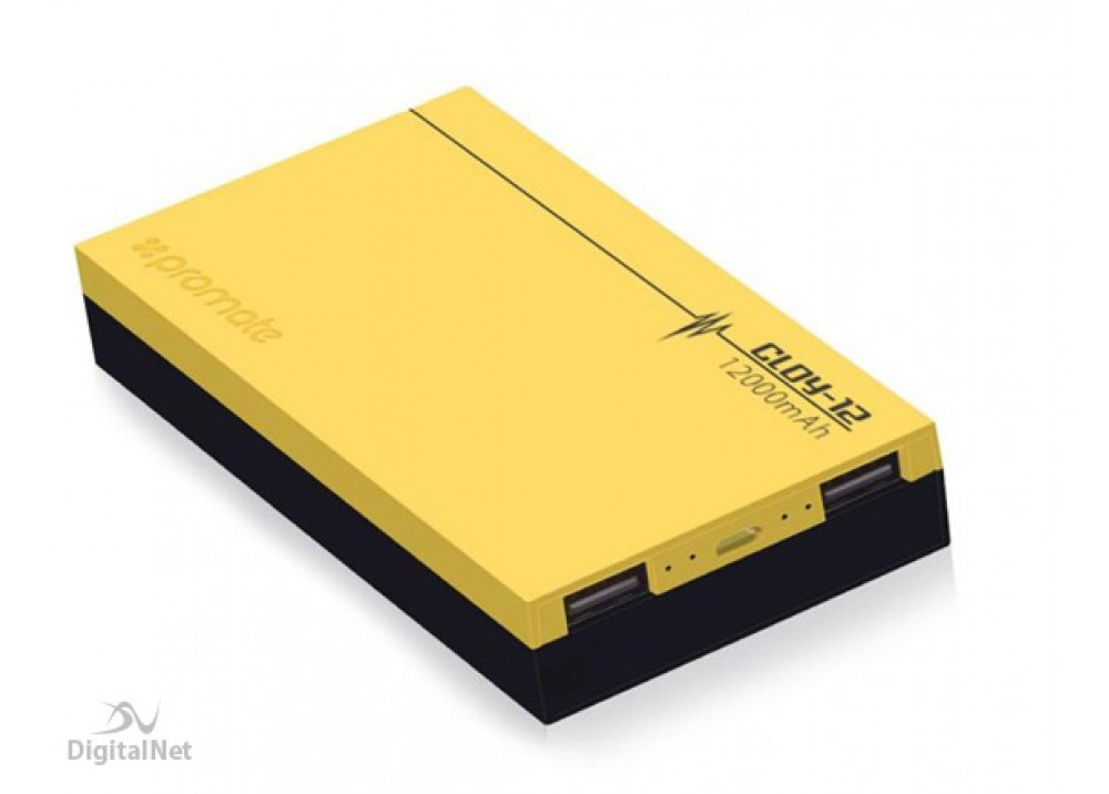 PROMATE POWER BANK PORTABLE CHARGER POLYMER 12000 MAH YELLOW