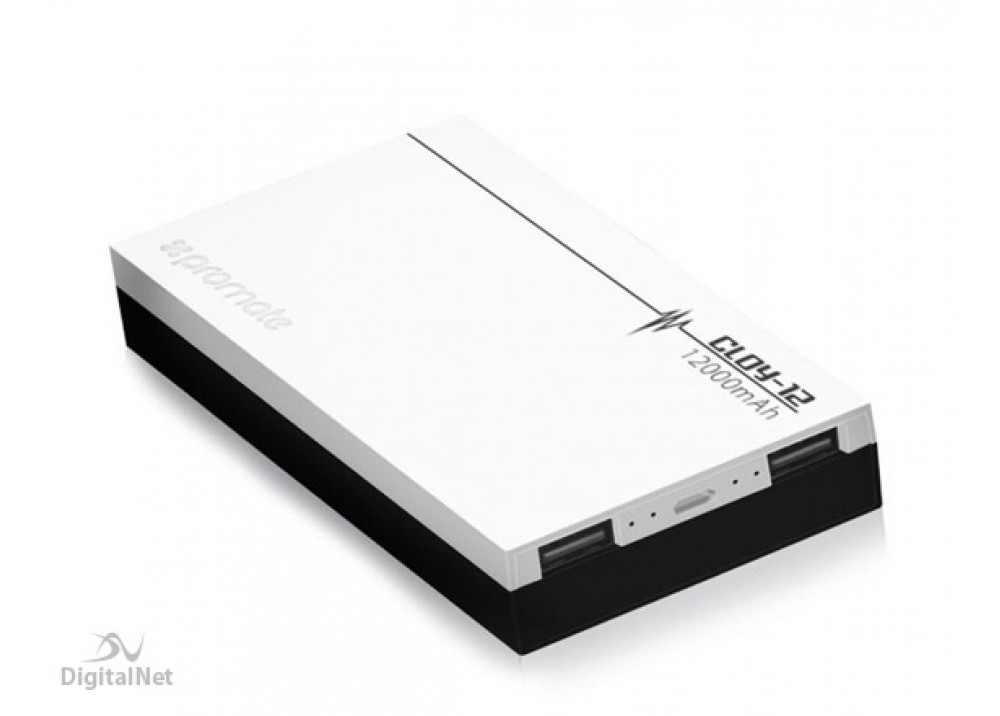 PROMATE POWER BANK PORTABLE CHARGER POLYMER 12000 MAH WHITE
