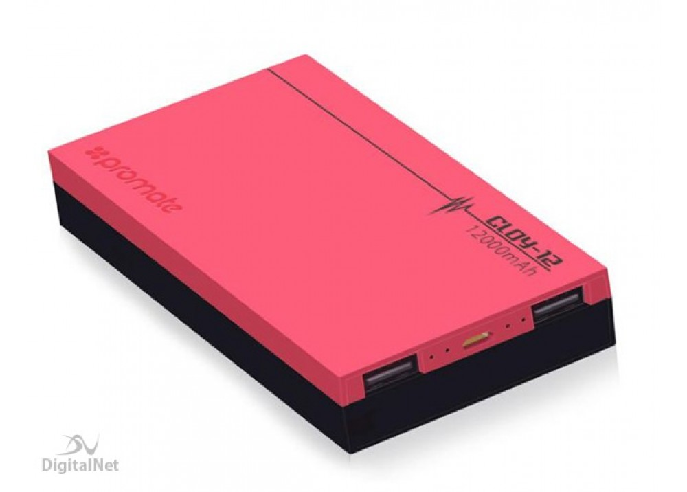 PROMATE POWER BANK PORTABLE CHARGER   CLOY12 12000 MAH PINK