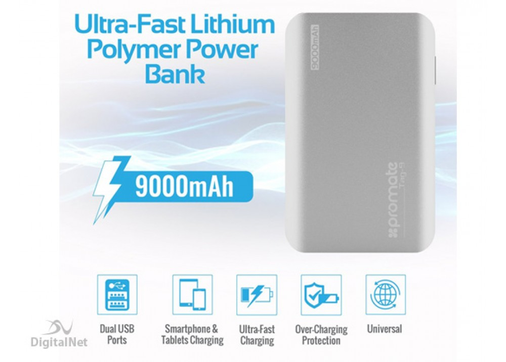 PROMATE POWER BANK PORTABLE CHARGER ALUMINIUM TAG-9 9000MAH SILVER